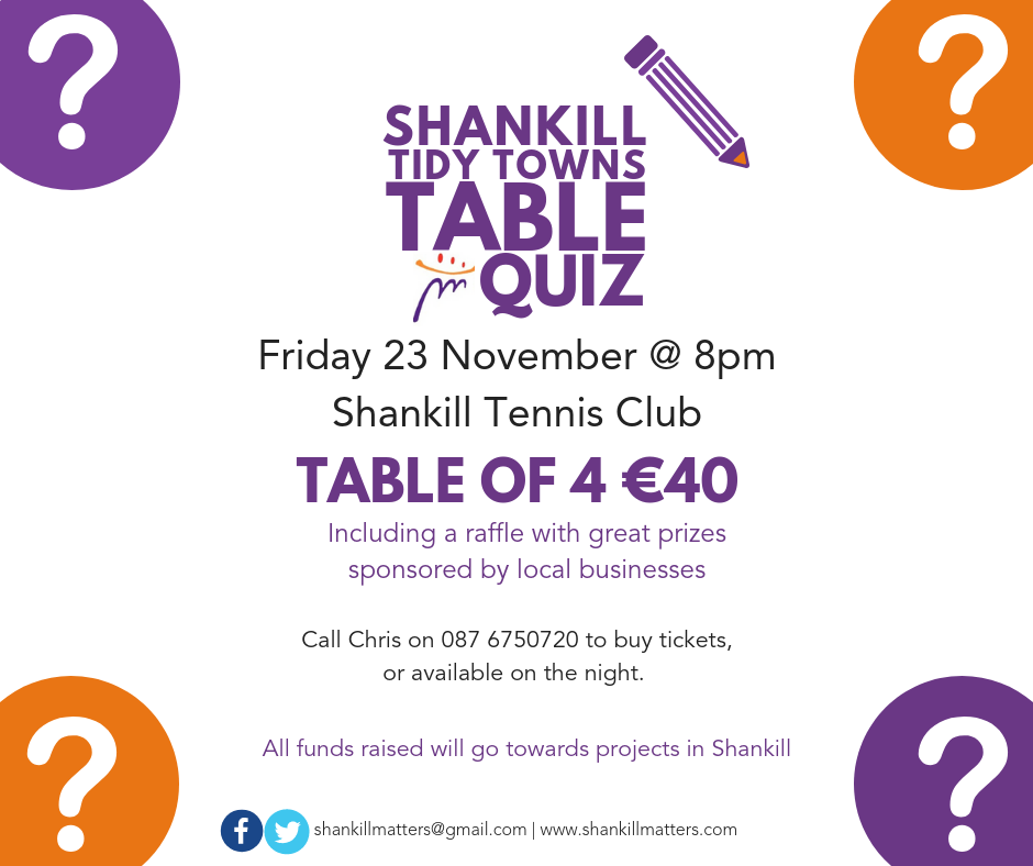 Shankill Tidy Towns Table Quiz 2018